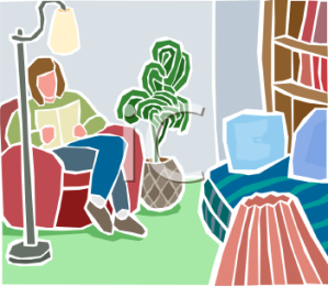 0511-0812-2902-2026_Woman_Reading_a_Book_in_Her_Living_Room_clipart_image.jpg
